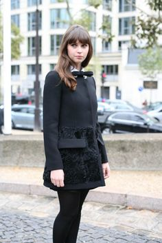 Felicity Jones bow coat  Paris Fashion Week Spring 2013