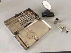 Medisch Instr. Lüer  Paris Neus diagnostic set van 19 delen in metalen 1e helft 20e Eeuw in orginele doos ,herkomst Frankrijk ,maten 21 X 11  X  4