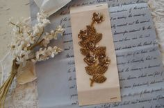 Vintage French Gold Amber Sequin Beaded by VintageFrenchRibbons