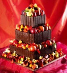 Fall themed chocolate cake