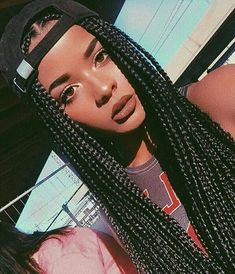 Middle Part Long Braids With Black Hat,Inspiration For Cool Brown Skin Girls.