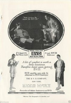 1919 BVD Mens Underwear Guys in Boxers Relax Together Photo Vintage Print Ad | eBay