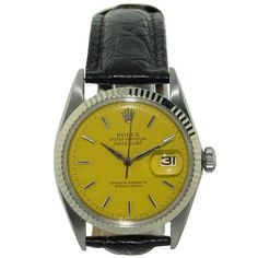 Vintage Rolex Datejust yellow dial stainless steel wrist watch, circa This Swiss wrist watch has automatic Oyster perpetual 26 jewel movement. Antique Watches, Vintage Watches, Rolex Watches, Watches For Men, Wrist Watches, Watch Companies, Rolex Oyster Perpetual, Vintage Rolex, Rolex Datejust