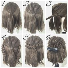 Half Up Hairstyles For Brief Hair # Hair # Coiffure # Coiffure Haircourt # Coiffure Hairlong Half Up Half Down Short Hair, Half Up Half Down Hair Tutorial, Easy Hairstyles For Long Hair, Amazing Hairstyles, Wedding Hairstyles, Braided Hairstyles For Short Hair, Trendy Hairstyles, Black Hairstyle, Easy Elegant Hairstyles