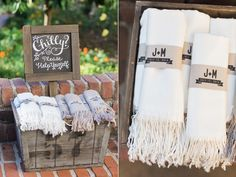 blanket favors - photo by Carlie Statsky http://ruffledblog.com/garden-wedding-at-allied-arts-guild