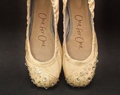 TOMS Wedding Ballet Flats in Ivory or Pale Pink with Swarovski Crystals