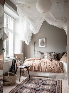 my scandinavian home: A Swedish Home With The Loveliest Earthy Blue Walls Home Bedroom, Bedroom Wall, Bedroom Decor, Beige Walls Bedroom, Blue Walls, Bedrooms, Scandinavian Apartment, Scandinavian Bedroom, Room Inspiration