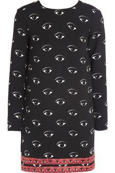 Kenzo eye print crepe dress