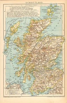 Original 1895 Antique Color lithography print - historic old map of Scotland, United Kingdom. Old Maps, Antique Maps, Vintage Wall Art, Antique Prints, Vintage World Maps, Scotland Map, Scotland History, Map Globe, Plans
