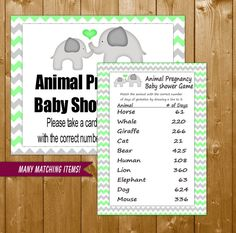 Baby Shower Games Elephant Mint Animal Gestation Days Game with Sign, Elephant Shower Games in Mint, Printable Instant Download