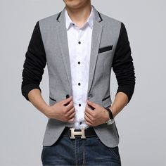 Blazer Masculino Cinza Claro Slim Fit Top