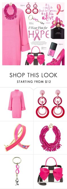 """""""Who Do You Wear Pink For?"""" by lunarsimona ❤ liked on Polyvore featuring Miss Selfridge, Mochi, Estée Lauder, BaubleBar, Roberto Cavalli, Betsey Johnson, contest, breastcancerawareness and IWearPinkFor"""
