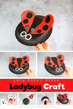Easy paper plate Ladybug Craft for kids to make this Spring. A simple craft for kids that's perfect for bug or mini-beast topic. Spring Art Projects, Spring Crafts For Kids, Crafts For Kids To Make, Craft Activities For Kids, Summer Crafts, Kids Crafts, Bug Activities, Diy Projects, Toddler Arts And Crafts