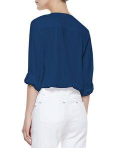 Donnie Silk-Stretch Low-Cut Button-Down Top