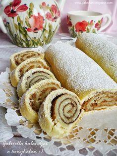 Linzertekercs - zserbós és kakaós töltelékkel Bread And Pastries, Vanilla Cake, Favorite Recipes, Sweets, Cheese, Meals, Cookies, Baking, Breakfast