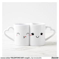 Shop cocoa cuties VALENTINE DAY couple's gift 1 Coffee Mug Set created by mnnstudio. Cute Coffee Mugs, Coffee Mug Sets, Coffee Gifts, Cute Mugs, Mugs Set, Coffee Cup, Valentines Sweets, Valentines Day Couple, Valentine Day Gifts