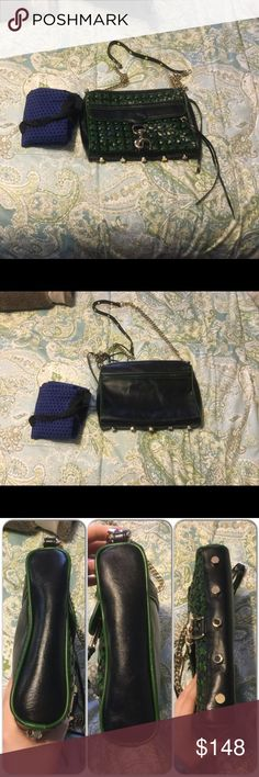 Rebecca Minkoff woven green black Mac crossbody Excellent condition, except there is some scuffs on the corners and clasp (shown in pictures). Comes with dust bag, too! Gold hardware. It is 11 inches in length, 2 inches in width, and 8 inches in height. Strap is about 21 inches. Feel free to make an offer! Rebecca Minkoff Bags Crossbody Bags