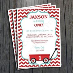 Little Red Wagon Invitation - FREE Thank You Card included party Twin First Birthday, First Birthday Parties, First Birthdays, Baby Shower Invitations For Boys, Birthday Invitations, Red Wagon Party, Little Red Wagon, Glitter Text, Free Thank You Cards
