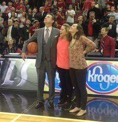 Rick Pitino watches video tribute after his 300th win at U of L -- yeah, I was at this game with my sister. Also my daughter covered this game for Cincinnati. Great night.