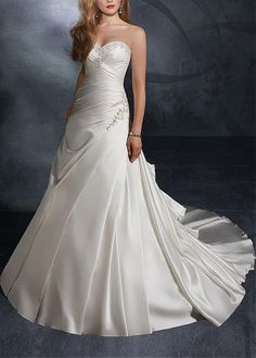 ELEGANT SATIN SWEETHEART A-LINE WEDDING GOWN LACE BRIDESMAID PARTY COCKTAIL GOWN FORMAL BRIDAL PROM CUSTOM
