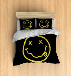 Nirvana Bedding - Smiley Face Logo Duvet Cover, Smiley Face Decor, Nirvana Decor, Band Decor, Music Bedding Set, Music Duvet Cover, Rock Bed