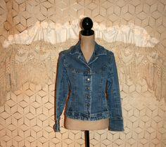 Distressed Denim Jacket Women Denim Jacket Medium by MagpieandOtis
