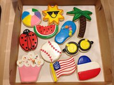 Summer Time Assortment Cookies - Beach Ball, Sun, Watermelon, Flip Flop, Palm Tree, Lady Bug, Baseball, Sun Glasses, Cupcake, American Flag & American Heart Beach Ball, Lady Bug, Sugar Cookies, Kids Meals, American Flag, House Warming, Summer Time, Creative Ideas, Watermelon