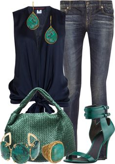 """Navy & Teal"" by gangdise ❤ liked on Polyvore"