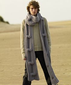 Traveller Scarf - Rowan Knitting & Crochet Magazine 48 - Nevermind the bloke model....I'd have this scarf....