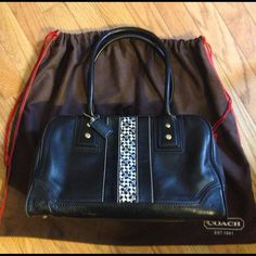 Super SaleRare Coach Leather Satchel Handbag Coach leather satchel.  ***Includes original leather hang tag and dust bag*** Black. Double zip closure.  The panel on the front is comprised of a strip of suede, signature print, and leather.  A really super handbag!  Lightly used.  I cannot even find any remarkable wear or marks that bear mentioning!! I received so many compliments on this bag.   I rarely wear black which is why I'm selling.  I want to buy a bigger brown bag  Coach Bags Satchels