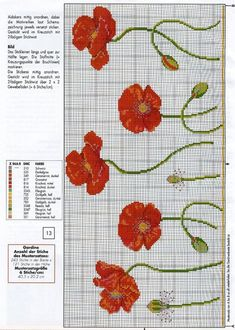 Resultado de imagen de free cross stitch patterns of poppies Cross Stitch Borders, Cross Stitch Flowers, Cross Stitch Charts, Cross Stitch Designs, Cross Stitching, Cross Stitch Embroidery, Embroidery Patterns, Cross Stitch Patterns, Tapestry Crochet
