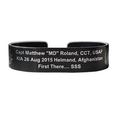 Pre Order For Oct 18 X Regular Size Etched Black Aluminum Bracelet Capt Matthew Md Roland Cct Usafkia 26 Aug 2017 Helmand Afghanistanfirst There
