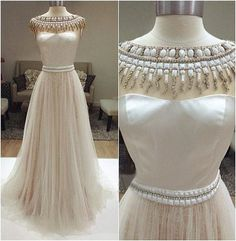 long prom dress, ivory prom dress, party prom dress, charming prom dress, cheap prom dress, tulle prom dress, evening dress gown, 141265