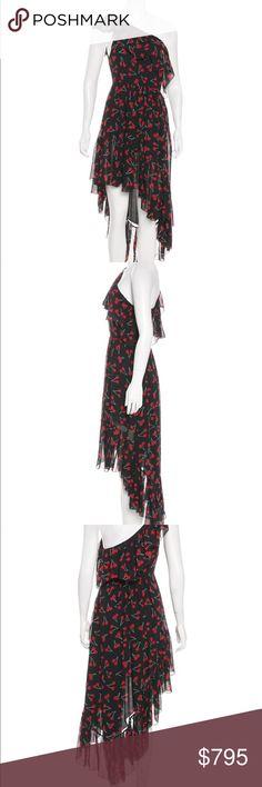 "Silk Cherry Print Saint Lauren Dress Black, red and white Saint Lauren silk midi dress featuring cherry print throughout, ruffled accents with concealed zip closure at side. Waist: 26"" Length: 48"" Hip: 45"" Bust: 29"" Saint Laurent Dresses Midi"