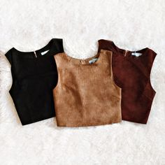 Which Armoy top would you wear ? ...With her wine red lipstick and her suede top, she attracted all eyes to her...Suede crop tops in beautiful fall colors/lpgarconne/1861.ca