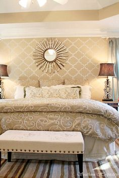 this room is exactly the shape of ours. Loving this stenciled wall and modern glam master bedroom makeover by Farley Hospitality Rhoda. I need to try stenciling! Glam Master Bedroom, Master Bedroom Makeover, Dream Bedroom, Home Bedroom, Bedroom Decor, Bedroom Ideas, Bedroom Mirrors, Bedroom Benches, Bed Bench