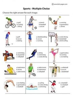 Sports Multiple Choice B&W worksheets English Words, English Lessons, Learn English, Elementary Physical Education, Elementary Pe, Vocabulary Worksheets, English Vocabulary, Teaching Spanish, Teaching English