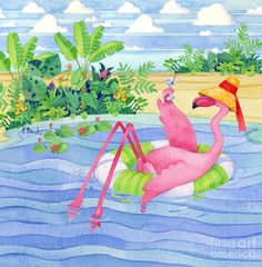 Posterazzi Martini Float Flamingo Canvas Art - Paul Brent x Pink Flamingo Beach, Flamingo Art, Pink Flamingos, Flamingo Drawings, Plastic Flamingos, Flamingo Painting, Flamingo Gifts, Pink Plastic, Flamingo Pictures
