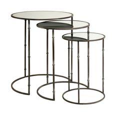 Imax Flouressa Mirror Top Nesting Tables (Set of 3) (Flouressa Mirror Top Nesting Table Set), Silver