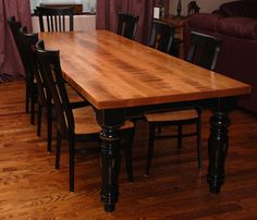 Stunning 88 Newest Farmhouse Black Table Design Ideas For Dining Room. Farm Style Dining Table, Black Dining Room Chairs, Farmhouse Kitchen Tables, Dinning Room Tables, Wooden Dining Tables, Table And Chairs, Farm Tables, Kitchen Dinning, Desk Chairs