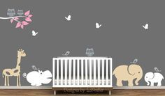 Baby Room Decor with Removable Jungle Animal Wall Decals