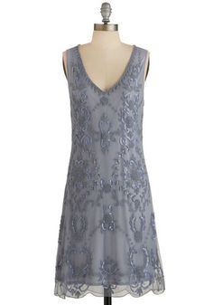Bead It Dress in Grey - Beads, Sequins, Special Occasion, Party, Vintage Inspired, 20s, Shift, Sleeveless, Woven, Better, Variation, V Neck, Grey, Sheer, Pastel, WPI