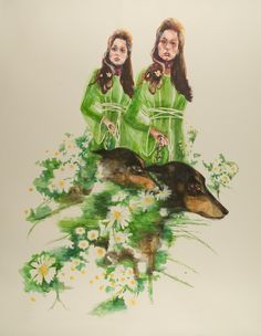 """Daisy Chain, watercolor on paper, 70"""" x 56"""", 2013"""
