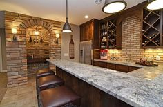 Image result for basement bar area with full size refrigerator