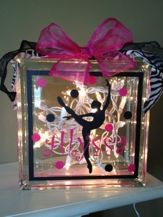 Personalized Vinyl Glass block light. $28.00, via Etsy.