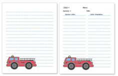 fire truck stationery paper