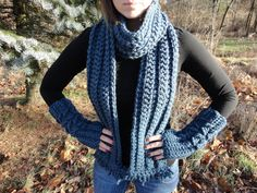 Teal Fingerless Mitten and Scarf Set Crochet by TheCrochetLion, $60.00