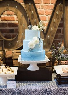 Estate on Second Wedding 3-Tier Blue Wedding Cake with Watercolor Design,