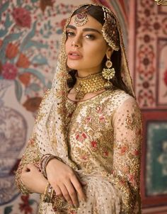 This sharara set is in raw silk and georgette silk in Ivory color embellished with silk threads, beads, stones. Dupatta is in georgette… Pakistani Bridal Couture, Pakistani Wedding Dresses, Bridal Lehenga, Indian Bridal, Latest Bridal Dresses, Bridal Outfits, Bridal Looks, Bridal Style, Nikkah Dress