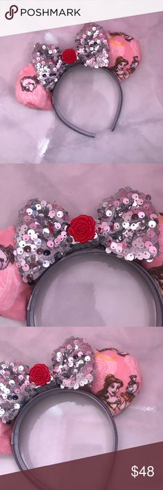 Beauty and The Beast Silver Bow Mickey Mouse Ears This is a pair of Beauty and The Beast Silver Bow ears with rose in the middle. Perfect for your next Disneyland or Disney world trip. Bundle up!! Fits a female adults head well. NWOT Disney Other